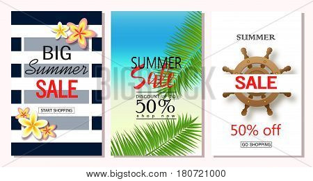 Set of summer sale banner templates. Vector illustrations for website and mobile website banners posters email and newsletter designs ads coupons promotional material