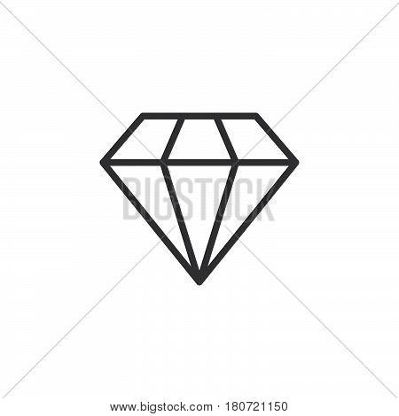 Diamond line icon outline vector sign linear style pictogram isolated on white. Gemstone symbol logo illustration. Editable stroke. Pixel perfect