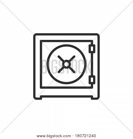 Safe strongbox line icon outline vector sign linear style pictogram isolated on white. Symbol logo illustration. Editable stroke. Pixel perfect