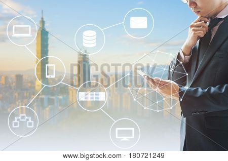Double Exposure Of Professional Businessman Connected Internet And Wireless Network With His Smart P