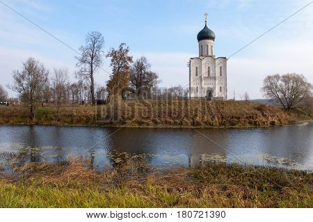 Church of Intercession upon Nerl River. Bogolubovo Vladimir region Golden Ring of Russia Inscribed in the Wold Heritage List of UNESCO. Summer landscape