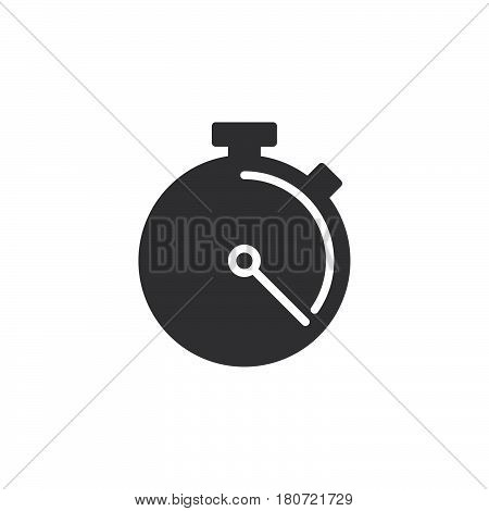 Stopwatch chronometer icon vector filled flat sign solid pictogram isolated on white. Symbol logo illustration. Pixel perfect