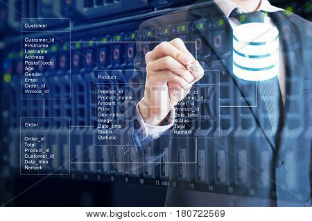 Double Exposure Of Professional Businessman System Analysis Design And Drawing Database Table With S