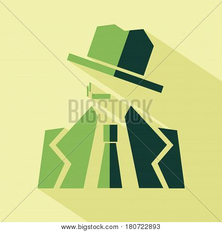 Vector flat detective icon. Isolated colored icon for logo web site design app UI. Flat noir illustration for posters cards book cover flyers banner web game designs.