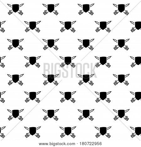 Vector hand drawn cartoon seamless pattern with shields and swords. History heraldic theme. Black and white shield pattern for paper textile polygraphy game web design