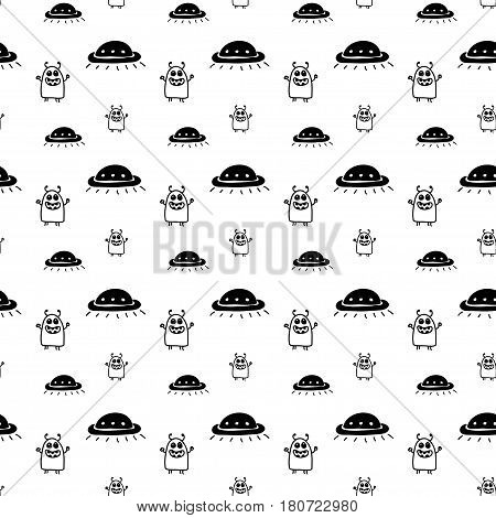 Vector hand drawn cartoon seamless pattern with ufo and aliens. Sci-fi theme. Black and white ufo pattern for paper textile polygraphy game web design