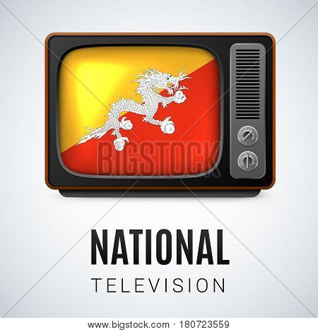 Vintage TV and Flag of Bhutan as Symbol National Television. Button with Bhutanese flag