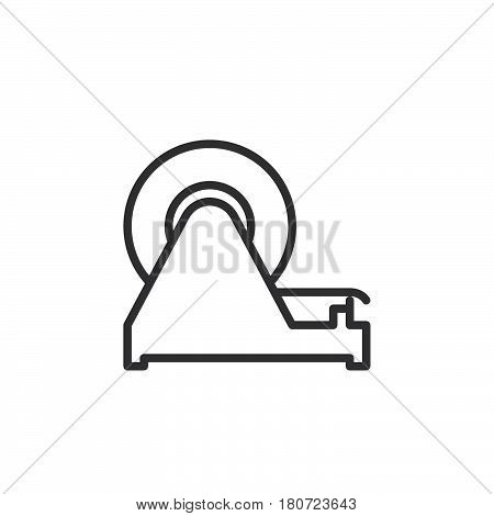 Adhesive tape dispenser line icon outline vector sign linear style pictogram isolated on white. Symbol logo illustration. Editable stroke. Pixel perfect