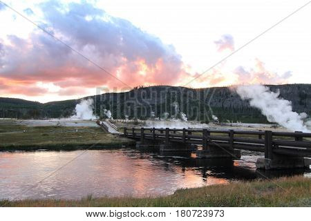 Biscuit Basin In Yellowstone National Park at sunset