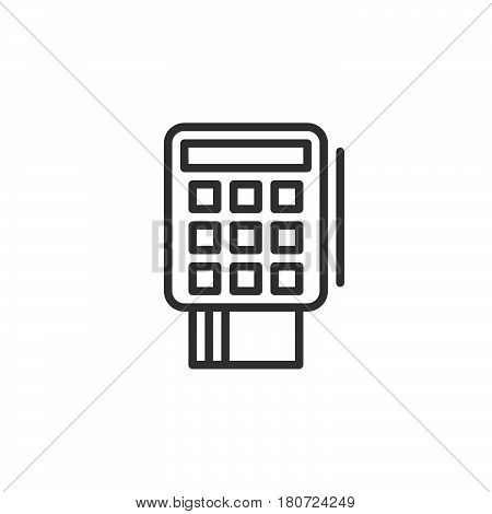 Credit card terminal line icon outline vector sign linear style pictogram isolated on white. Symbol logo illustration. Editable stroke. Pixel perfect