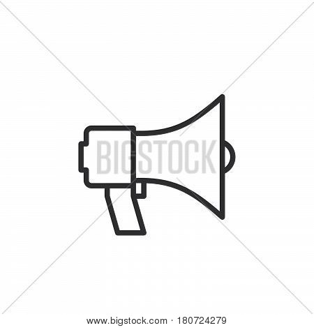 Megaphone bullhorn line icon outline vector sign linear style pictogram isolated on white. Announcement symbol logo illustration. Editable stroke. Pixel perfect