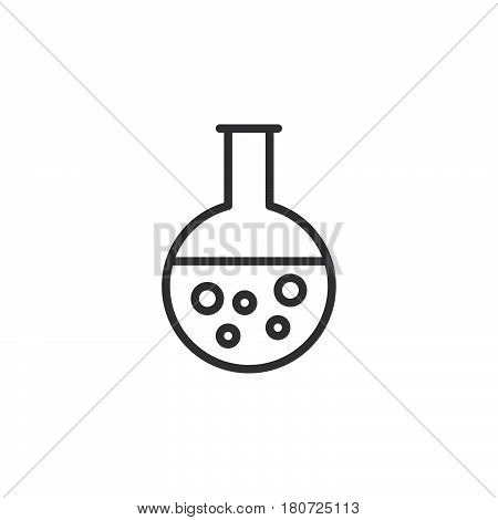 Round bottom flask beaker line icon outline vector sign linear style pictogram isolated on white. Chemical laboratory glassware symbol logo illustration. Editable stroke. Pixel perfect