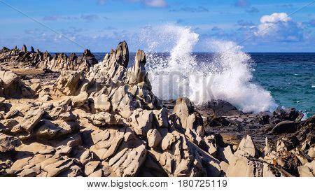 Dragons Teeth Coastline Rock Formation On Maui, Hawaii