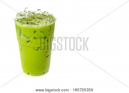 Iced Green Tea Isolate On White Background.