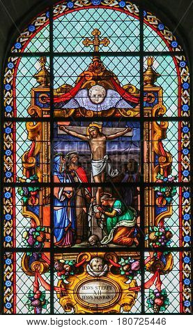 Jesus On The Cross - Stained Glass In Beguinage Church