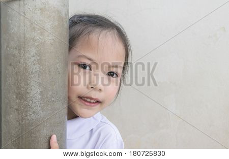 Cute Student Asian Kids In Old School. Educational Concept. Copy Space.