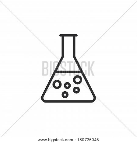 Flask beaker line icon outline vector sign linear style pictogram isolated on white. Chemical laboratory glassware symbol logo illustration. Editable stroke. Pixel perfect