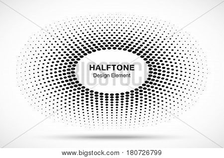 Black Abstract Circle Frame Halftone Dots Logo Design Element for medical treatment, cosmetic. Circle Border Icon halftone round dot vector elements. Halftone circle emblem, vector illustration.