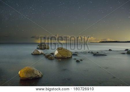 starry night on lake Ladoga, Leningrad oblast, Karelia, Russia
