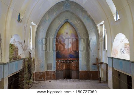 LUMIVAARA, RUSSIA - FEBRUARY 18, 2017: Altar part of the old abandoned Lutheran church close up