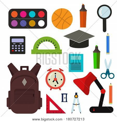 Vector illustration of Back to School supplies. School supplies learning equipment and different school supplies colorful office accessories. Education stationery accessories.