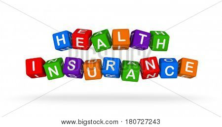 Health Insurance Colorful Sign. Multicolor Toy Blocks 3D illustration isolated on white background.