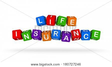 Life Insurance Colorful Sign. Multicolor Toy Blocks 3D illustration isolated on white background.