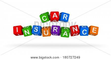 Car Insurance Colorful Sign. Multicolor Toy Blocks 3D illustration isolated on white background.