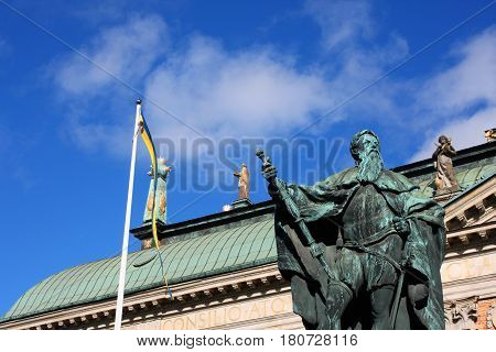 Statue of Gustavo Erici in front of Riddarhuset (House of Nobility) in Stockholm Sweden
