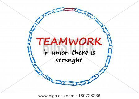 The Image Of The Color Paperclips Circle Isolated On White. Teamwork In Union There Is Strenght