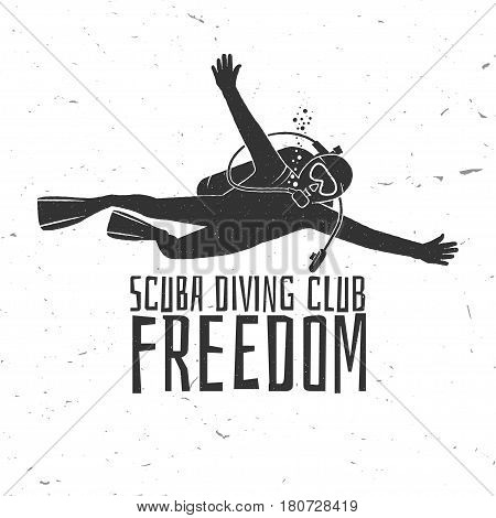 Scuba diving club. Vector illustration. Concept for shirt or logo, print, stamp or tee. Vintage typography design with diver silhouette.