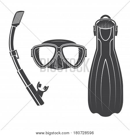 Scuba diving gear. Vector illustration. Set include dive mask, snorkel and fins. Vintage typography design with diver and sharks silhouette. Elements on the theme of the diving service business.