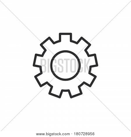 Gearwheel settings line icon outline vector sign linear style pictogram isolated on white. Symbol logo illustration. Editable stroke. Pixel perfect