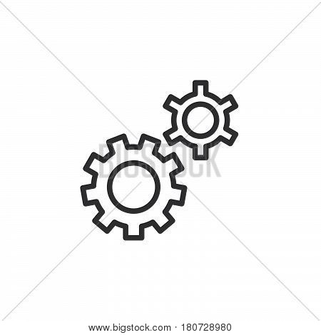 Gear settings preferences line icon outline vector sign linear style pictogram isolated on white. Symbol logo illustration. Editable stroke. Pixel perfect