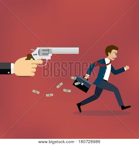Businessman running away from gunman on the red background.
