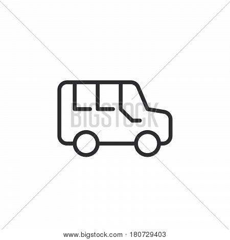 Minivan line icon outline vector sign linear style pictogram isolated on white. Symbol logo illustration. Editable stroke. Pixel perfect