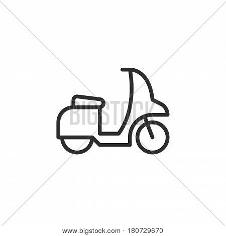 Motor scooter line icon outline vector sign linear style pictogram isolated on white. Symbol logo illustration. Editable stroke. Pixel perfect