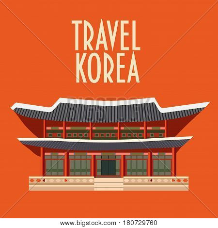 Korean famous landmark. Gyeongbokgung Palace or Gyeongbok Palace, also known as the main royal palace of the Joseon dynasty, made in flat design style. Seoul Sightseeing icon. Text