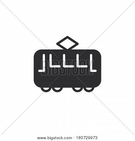 Tram icon vector filled flat sign solid pictogram isolated on white. Streetcar symbol logo illustration. Pixel perfect