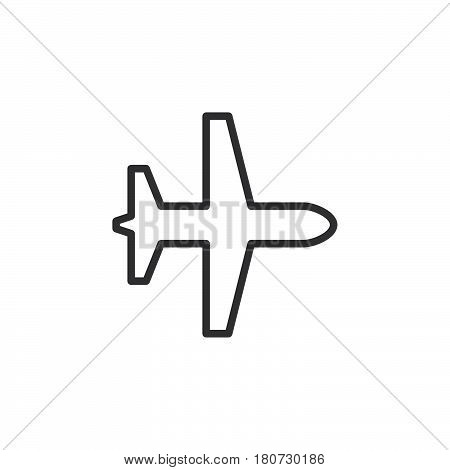 Plane airplane mode line icon outline vector sign linear style pictogram isolated on white. Symbol logo illustration. Editable stroke. Pixel perfect