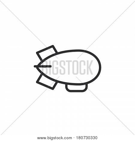 Airship zeppelin line icon outline vector sign linear style pictogram isolated on white. Symbol logo illustration. Editable stroke. Pixel perfect