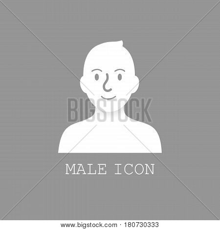 Man default avatar, user profile picture on gray background