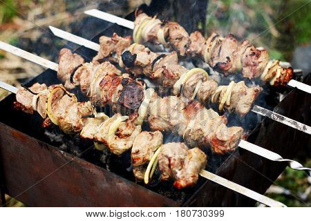 Appetizing shish kebab with onions roasted on skewers. Skewers with kebab are on the old grill. Photo closeup.