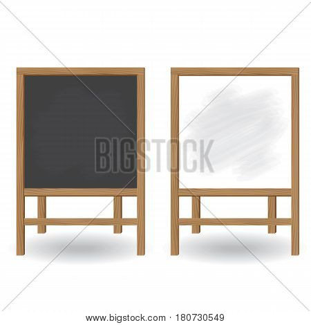 Wooden boards for writing with chalk and a marker. Black and white board for the menu of training and work. Vector illustration.