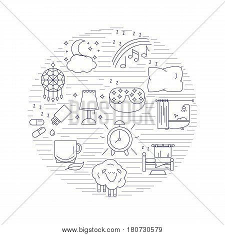Healthy sleep and insomnia icons inside the circle. Vector illustration.