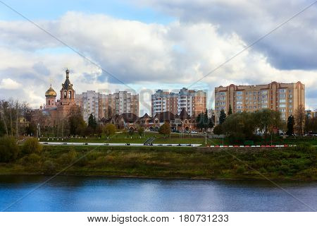 Ramenskoye Moscow Region Russia - October 16 2016: Beautiful view of the lake temple in the historic town of Ramenskoye Moscow Region in Russia