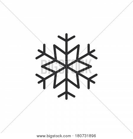 Snowflake freeze line icon outline vector sign linear style pictogram isolated on white. Snow symbol logo illustration. Editable stroke. Pixel perfect
