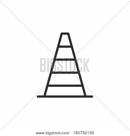 Pylon traffic cone line icon outline vector sign linear style pictogram isolated on white. Symbol logo illustration. Editable stroke. Pixel perfect