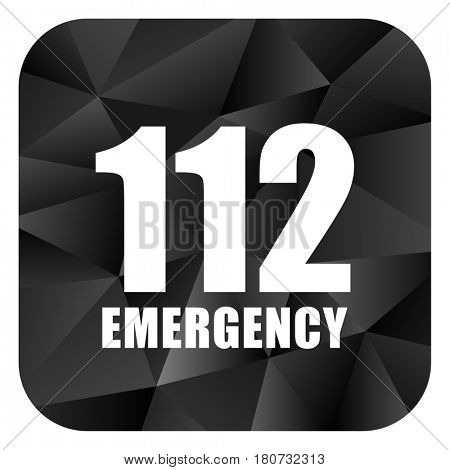 Number emergency 112 black color web modern brillant design square internet icon on white background.