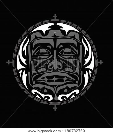 Vector illustration of the face symbol. Modern stylization of North American and Canadian native art in white and red on black with native ornament